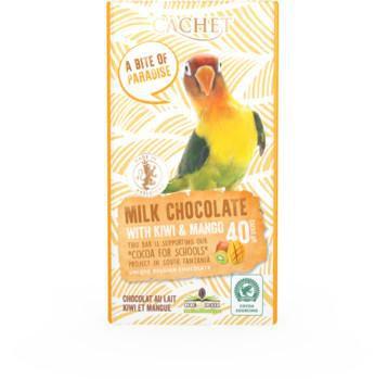 CACHET Mliečna čokoláda 40% - kiwi a mango