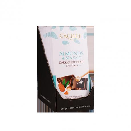 CACHET Horká čokoláda 57% - mandle a morská soľ