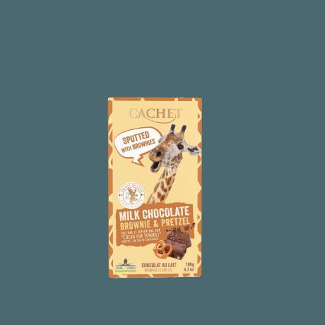 CACHET Mliečna čokoláda FUN - brownie a praclík