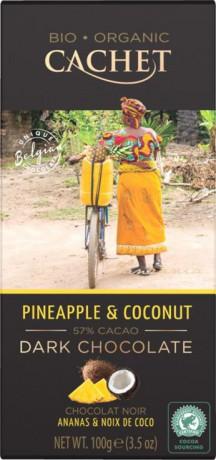 CACHET Tanzánia Horká čokoláda 57% - ananás a kokos