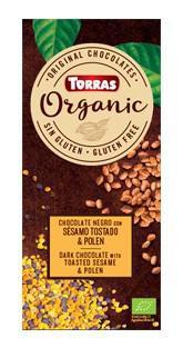 TORRAS Organic - Horká čokoláda - sezam a peľ