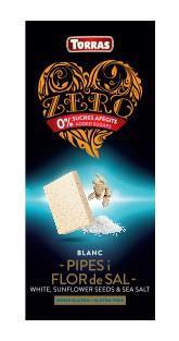 TORRAS ZERO Biela čokoláda - slnečnicové semiačka a morská soľ